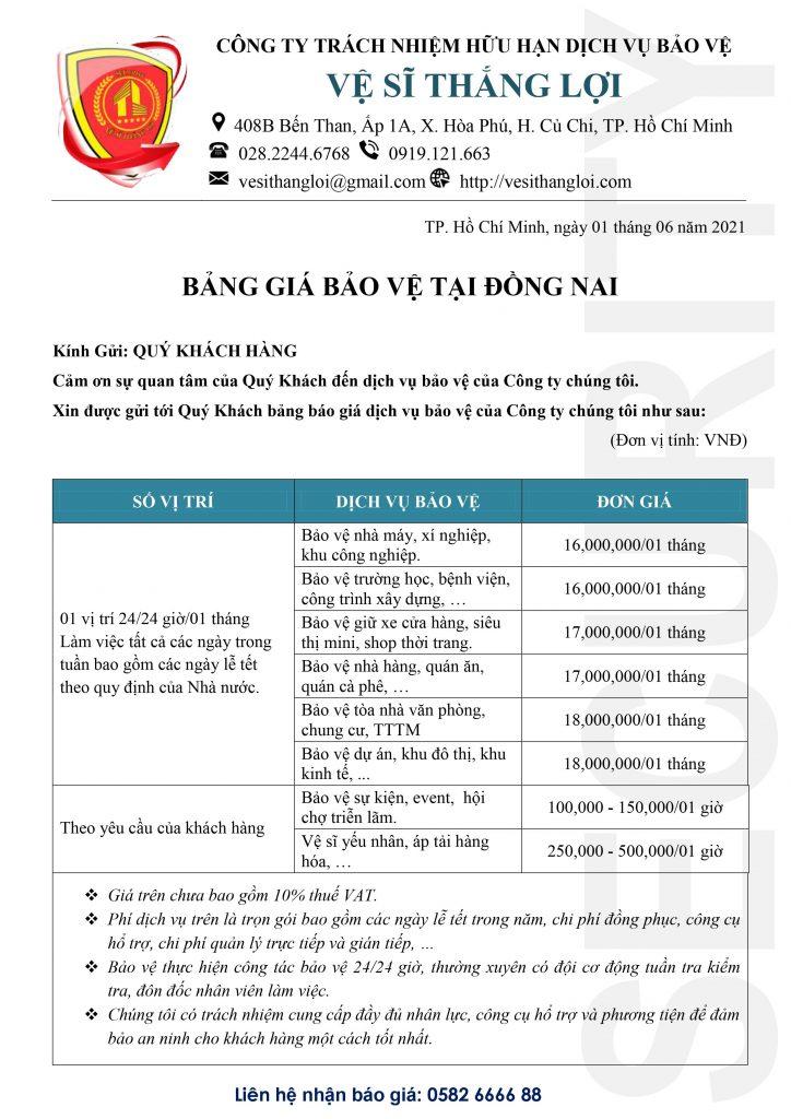 Bảng giá bảo vệ tại Đồng Nai