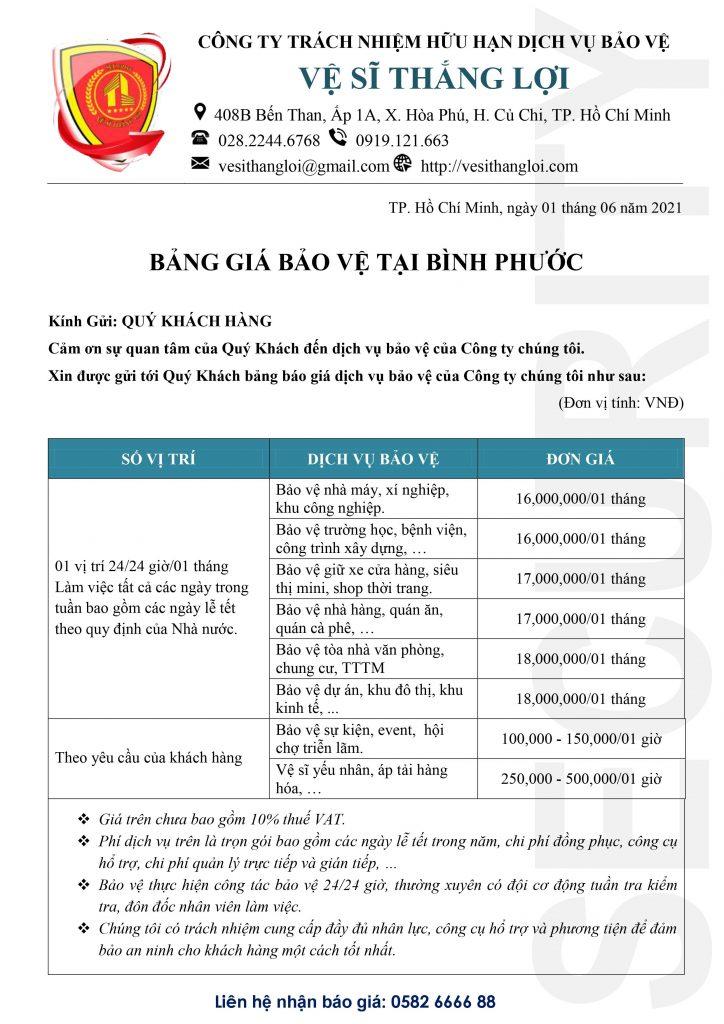 Bảng giá bảo vệ tại Bình Phước